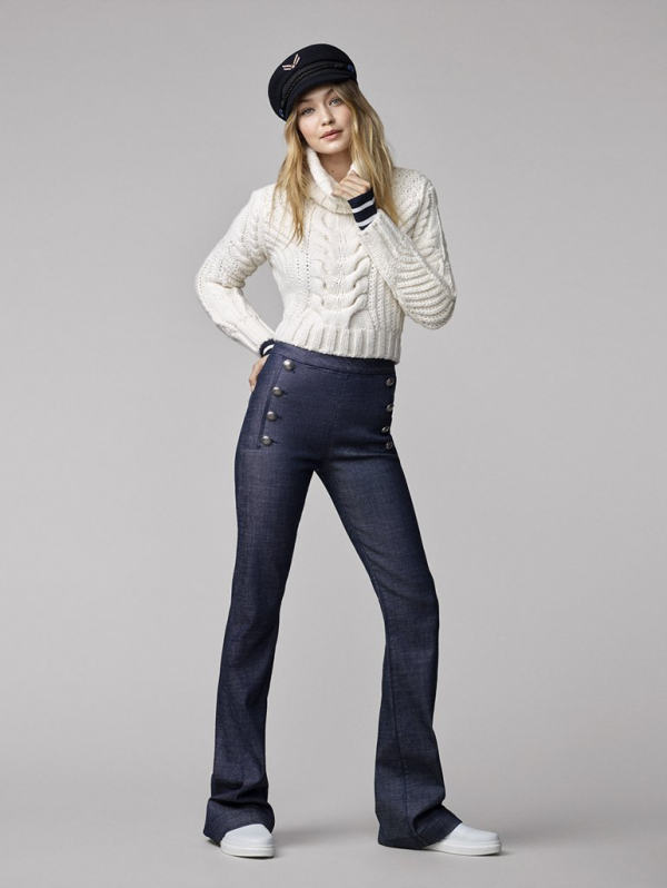 Gigi Hadid Tommy Hilfiger - crop cable knit sweater flare jeans