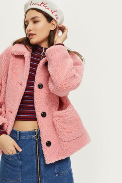 capotto teddy coat rosa corto topshop