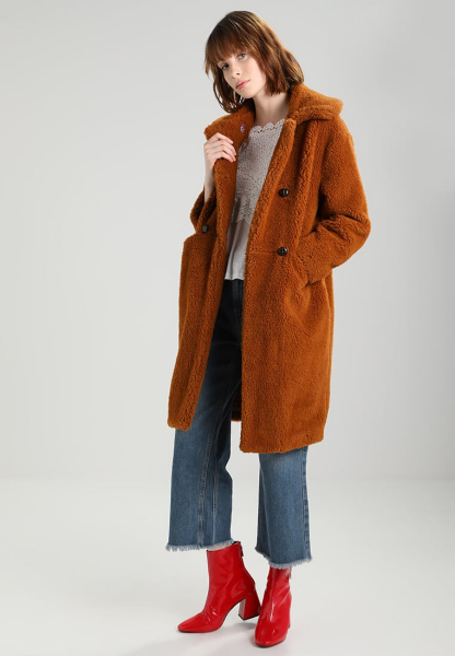 capotto teddy coat ruggine midi topshop