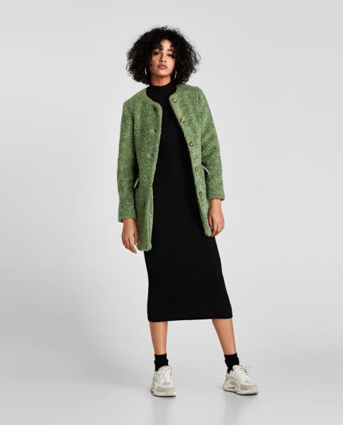 cappotto verde midi zara