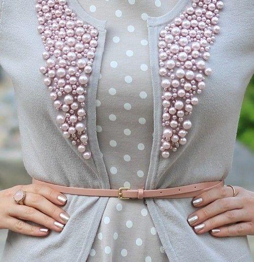 maglione cardigan con perle