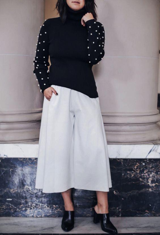 maglione nero perle