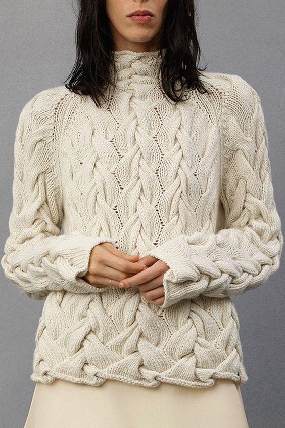 maglione trecce bianco