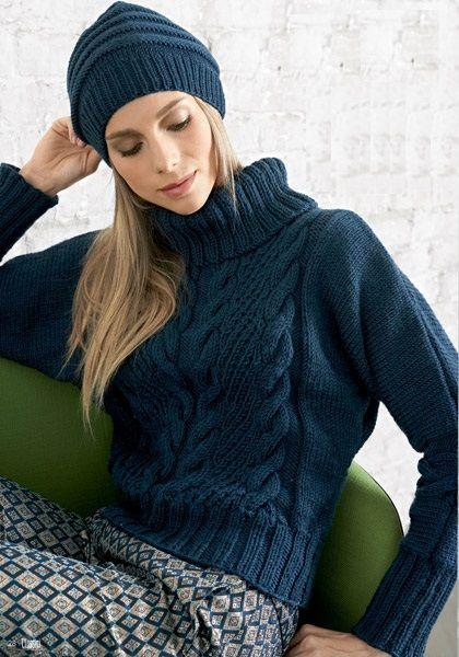 maglione trecce blu