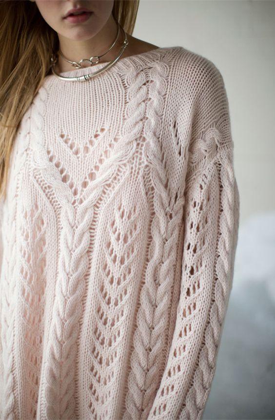 maglione trecce cipria