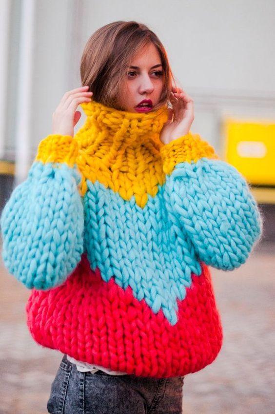maglione lana grossa colorato