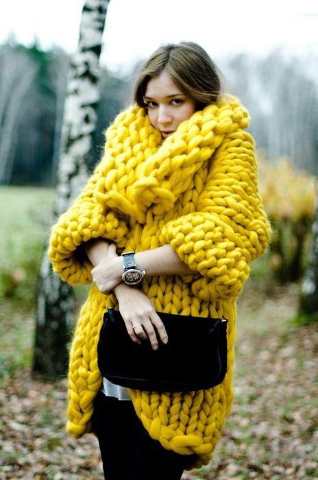 maglione lana grossa giallo