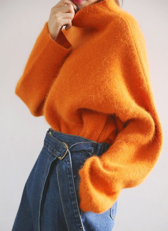 maglione over size arancio