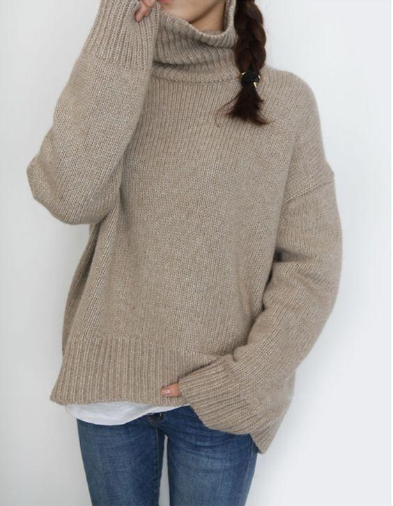 maglione over size tortora